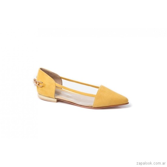 zapatos amarillos planos verano 2019 De Maria calzados
