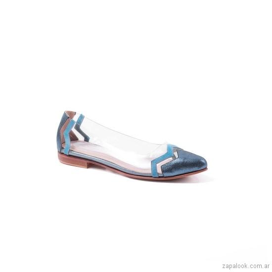 zapatos azules metalizados planos verano 2019 De Maria calzados
