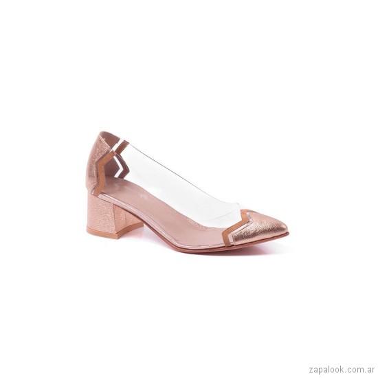 zapatos dorados y transparente verano 2019 De Maria calzados