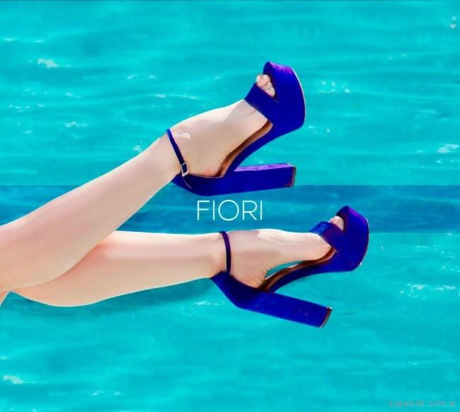 sandalias altas azul francia verano 2019 - Fiori Calzature