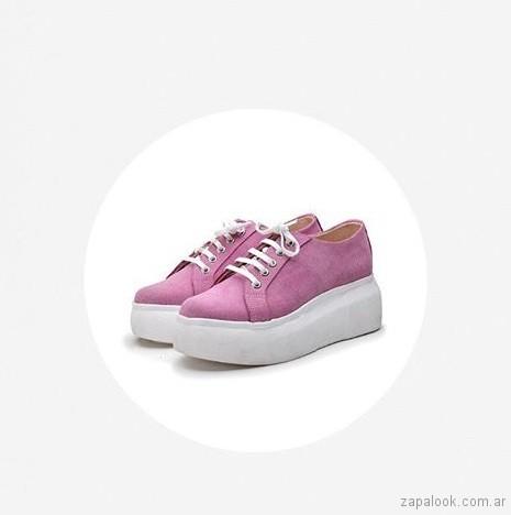 zapatillas rosadas con plataformas verano 2019 - Mary and Joe