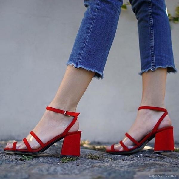 sandalias bajas rojas verano 2019 - Magali Shoes