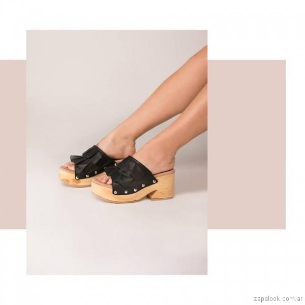 sandalias base de madera verano 2019 - Green and Black