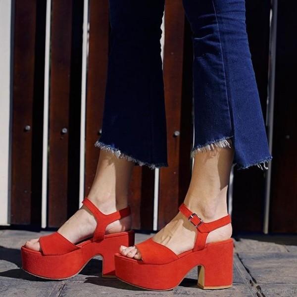 sandalias con plataformas rojas verano 2019 - Magali Shoes