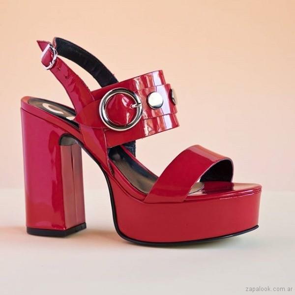sandalias rojas de charol fiesta juvenil verano 2019 - Natacha