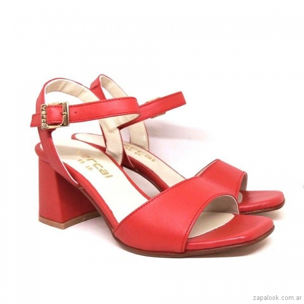 sandalias taco medio rojas verano 2019 - Magali Shoes