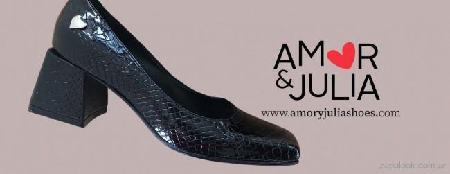 zapatos crocco cuero negro invierno 2019 - amor y julia