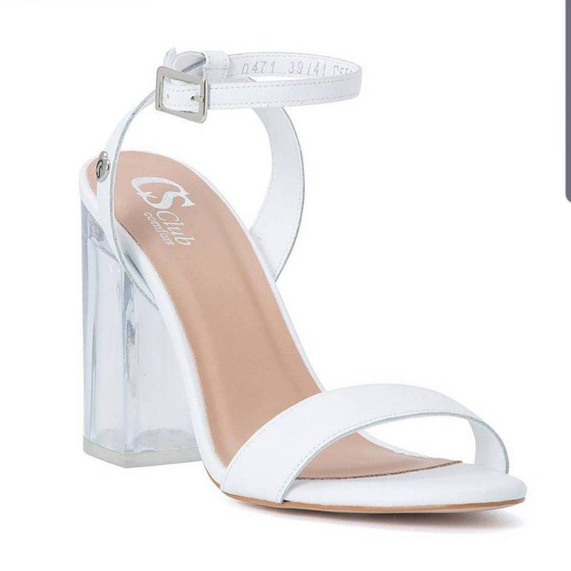 Sandalias blancas tacos transparente verano 2020 Carmen Steffens