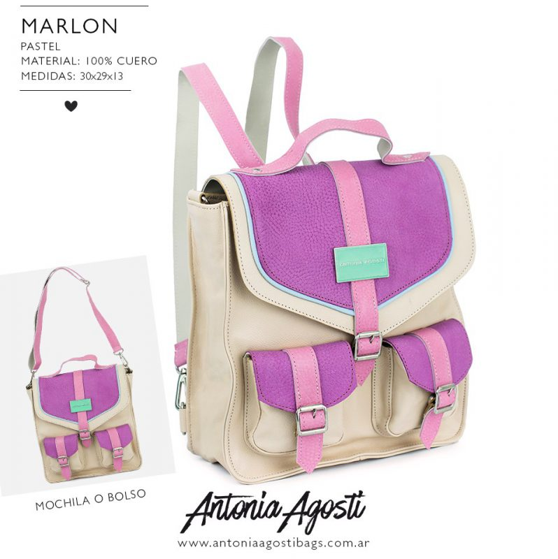 mochila de cuero cuadrada primavera verano 2020 Antonia Agosti Bags