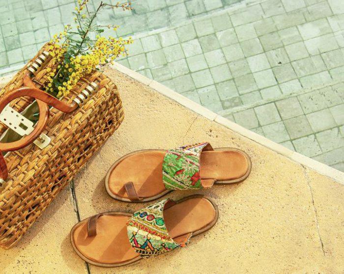 Sandalias chatitas de cuero bordadas primavera verano 2020 Bendito Pie