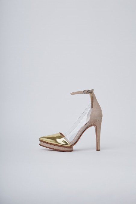 Zapato rosa punta dorada altas noche de fiesta verano 2020 Valdez