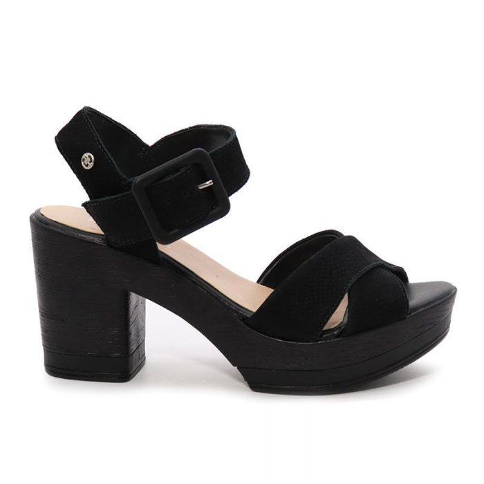 sandalia negra taco medio Hush puppies verano 2020