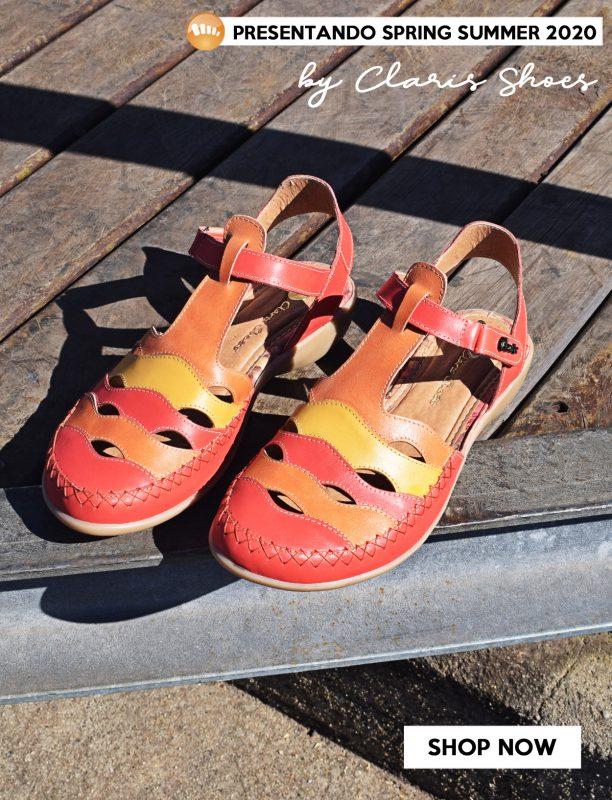 sandalias naranja y amarillo primavera verano 2020 Señoras Claris Shoes