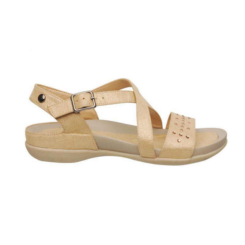 sandalias planas doradas linea confort verano 2020 Barker