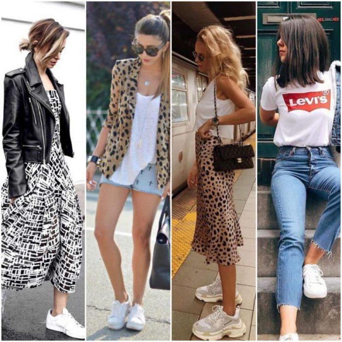 Outfit en zapatilla blanca para mujer