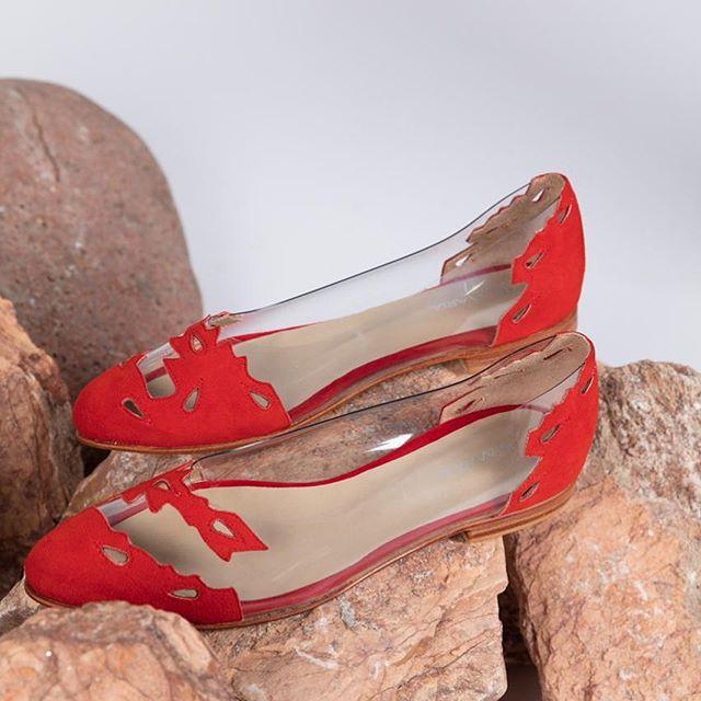 balerinas transparentes y rojas verano 2020 De Maria calzados