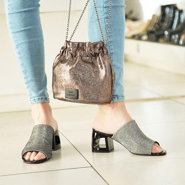 sandalias metalizadas taco medio verano 2020 Paloma Cruz
