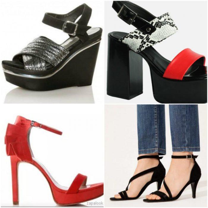 Diferentes estilos de tacos de zapatos y sandalias altas