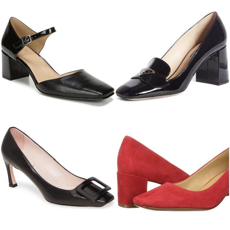 Zapatos con de punta cuadrada con tacones invierno 2020