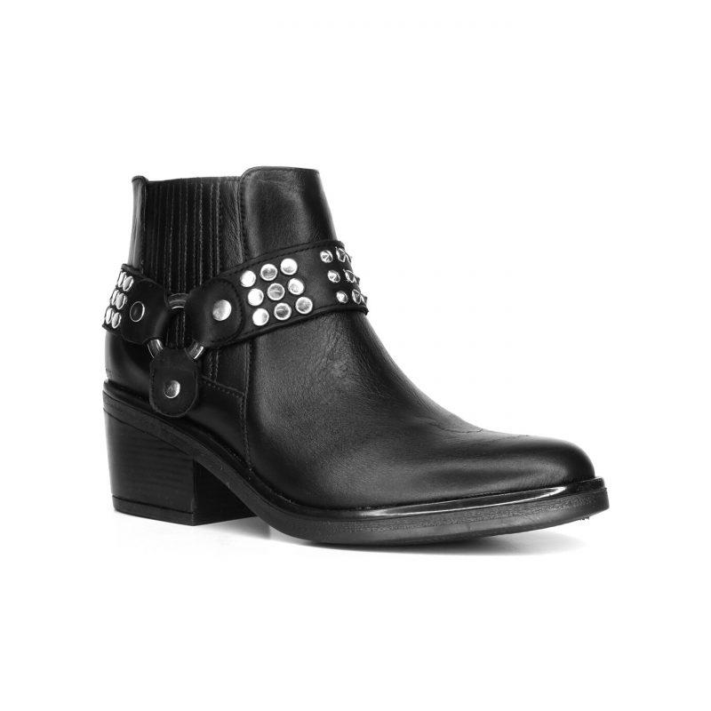 Fiori Calzature Botas negras con tachas otoño invierno 2020