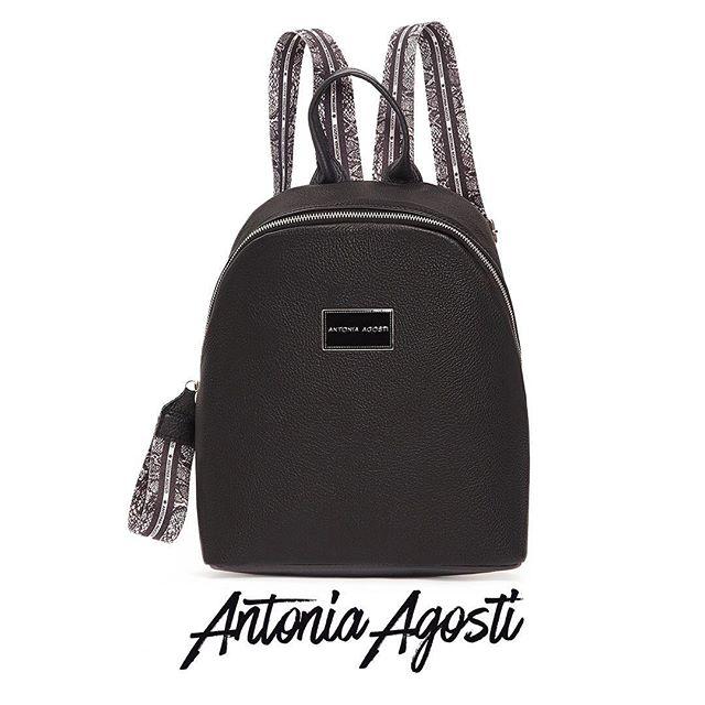 Mochila de cuero negra otoño invierno 2020 Antonia Agosti Bags