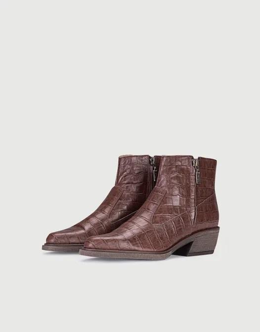 botas croco cuero marron invierno 2020 Calzado Viamo