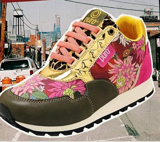 zapatillas verde y estampa floral invierno 2020 Puro calzados