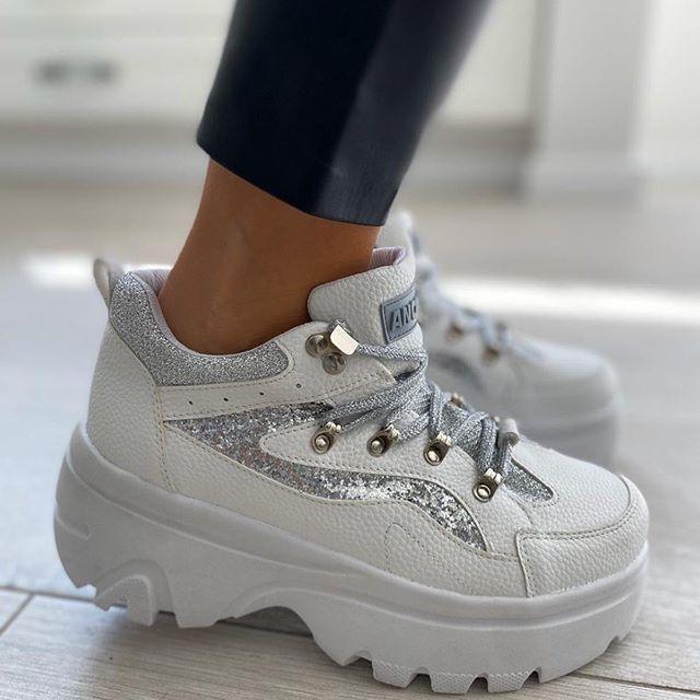 zapatillas blancas con plataforma invierno 2020 Anca Co