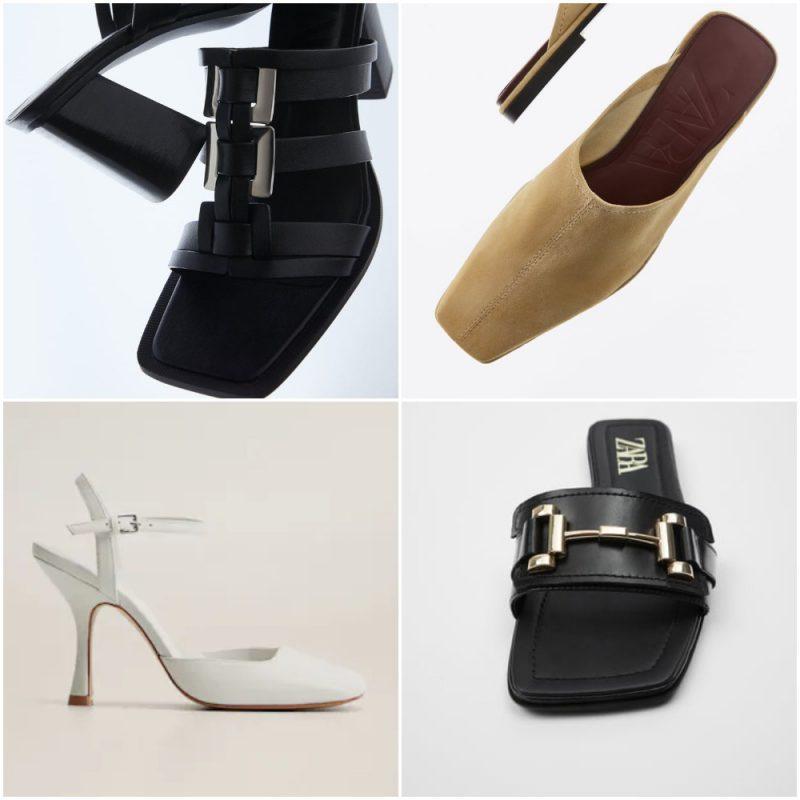 Zapatos y sandalias punta cuadrada primavera verano 2021 Tendencias de moda en calzados