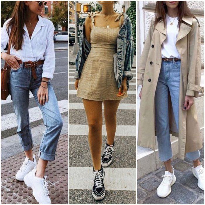 Outfits para mujeres con zapatillas con plataforma o base alta