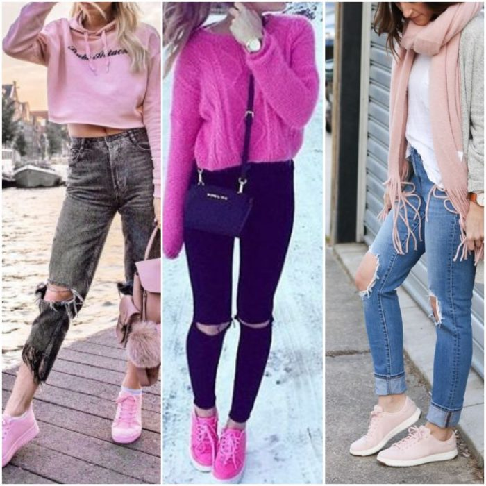 como combinar zapatillas en tonos rosas