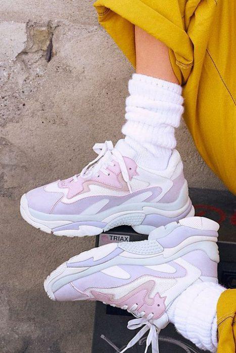 zapatillas colores pasteles estilo deportivo para mujer