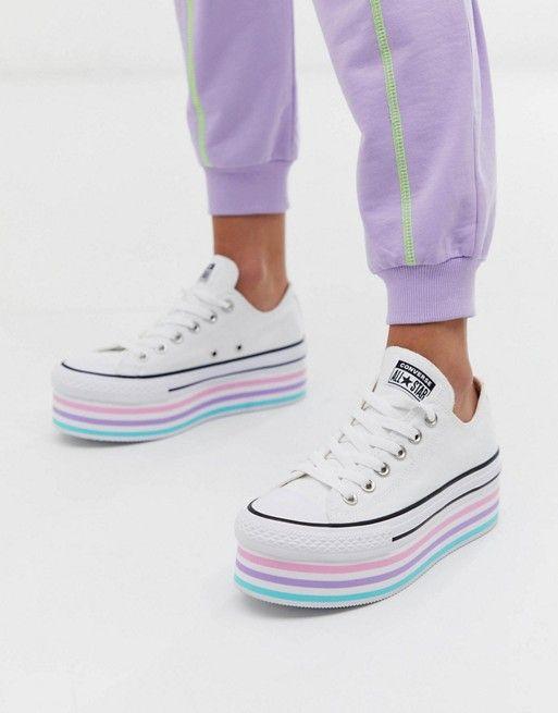 zapatillas de lona con base alta