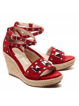 Sandalias rojas con taco cuna The Bag Belt