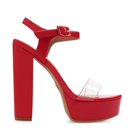 sandalias rojas altas con plataformas verano 2021 Lady Stork