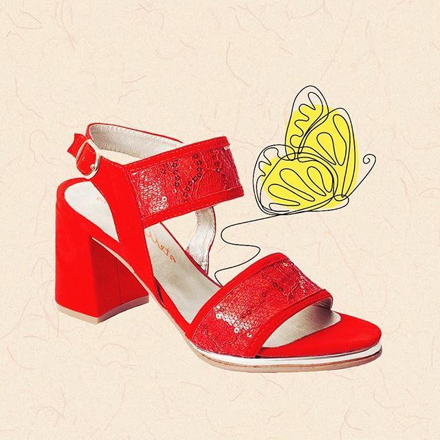 sandalias rojas taco medio verano 2021 Stella Maris