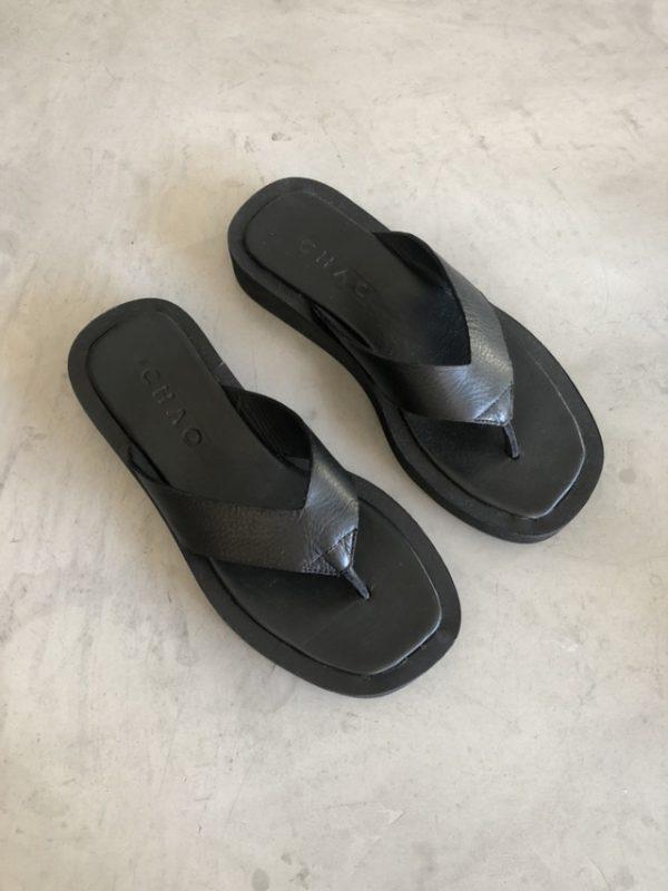 Sandalias ojotas negras verano 2021 Chao shoes