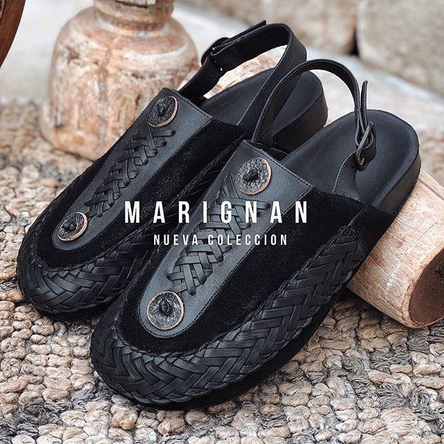 sandalia negra de cuero trenzado verano 2021 Marignan Shoes