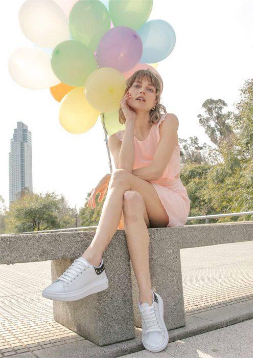 zapatillas blancas primavera verano 2021 Sky Blue