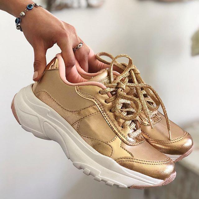 zapatillas doradas verano 2021 Anca co