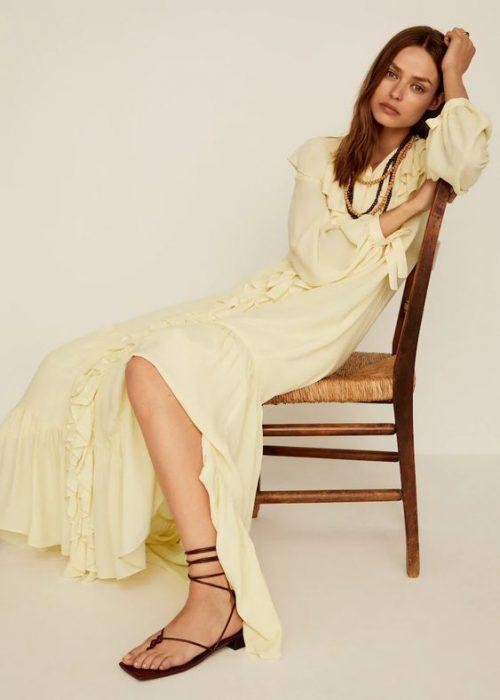 vestido largo de fiesta noche con sandalias planas