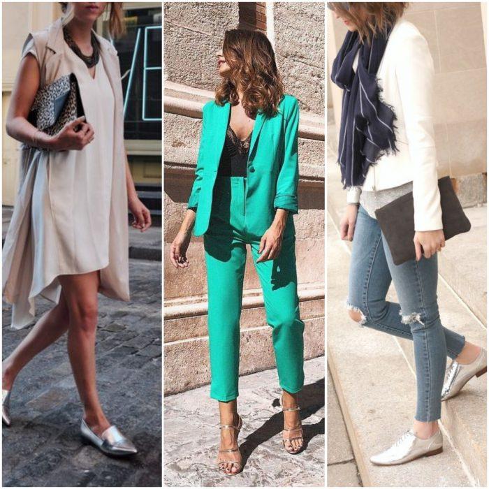 Outfits con sandalias y zapatos plateados