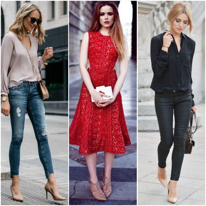Outfits con zapatos color piel o beige