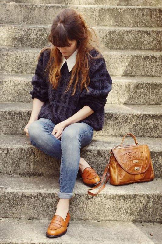 Outfits de mujer con mocasines casual y relajado