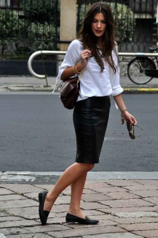 Outfits de mujer con mocasines y falda