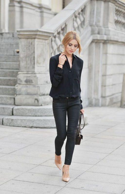Outfits negro con zapatos color piel