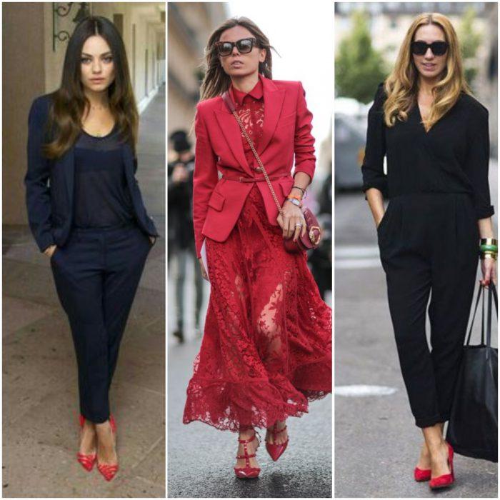 como combinar zapatos rojos para mujer