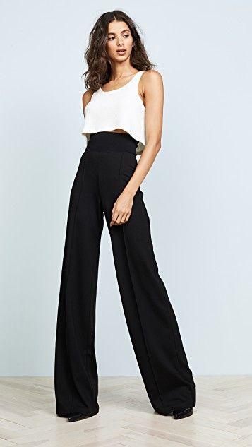 outfits con pantalones palazzos negro y stiletto