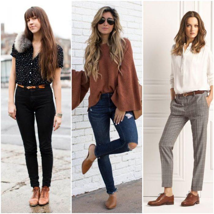 Outfits para mujer con zapatos marrones