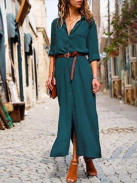 vestido verde con zapatos marrones para mujer